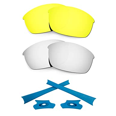 HKUCO For Oakley Flak Jacket Blue/Silver Polarized Replacement Lenses And Blue Earsocks Rubber Kit 4zvRNNo