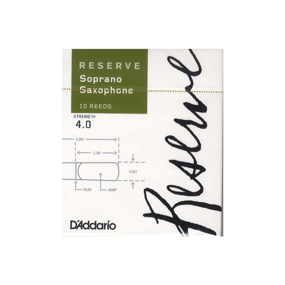 Confezione Da 10 Pezzi Tensione 4.0 DAddario DIR1040 Reserve Ance per Sax Soprano