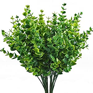 Artificial Shrubs, Hogado 4pcs Fake Plastic Greenery Plants Eucalyptus Leaves Bushes Flowers Filler Indoor Outside Home Garden Office Verandah Decor 38