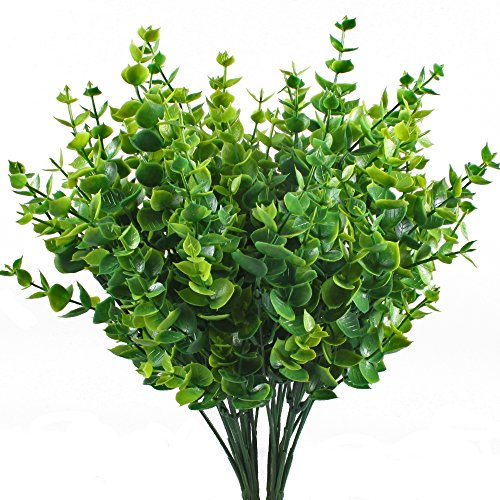 Artificial Shrubs, Hogado 4pcs Fake Plastic Greenery Plants Eucalyptus Leaves Bushes Flowers Filler Indoor Outside Home Garden Office Verandah Decor - Long Stem Topiary
