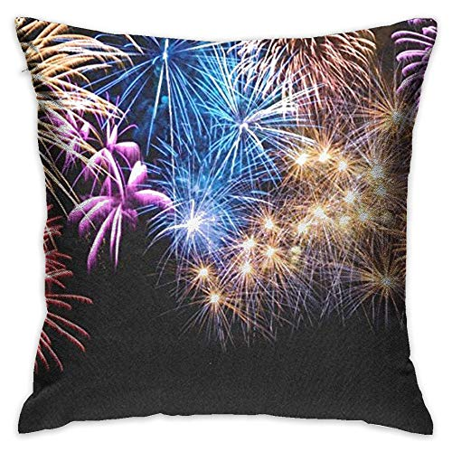 Throw Pillow Cover Colorful Fireworks Decorative Pillow Case Decor Square 18x18 Inch Cushion Pillowcase ()