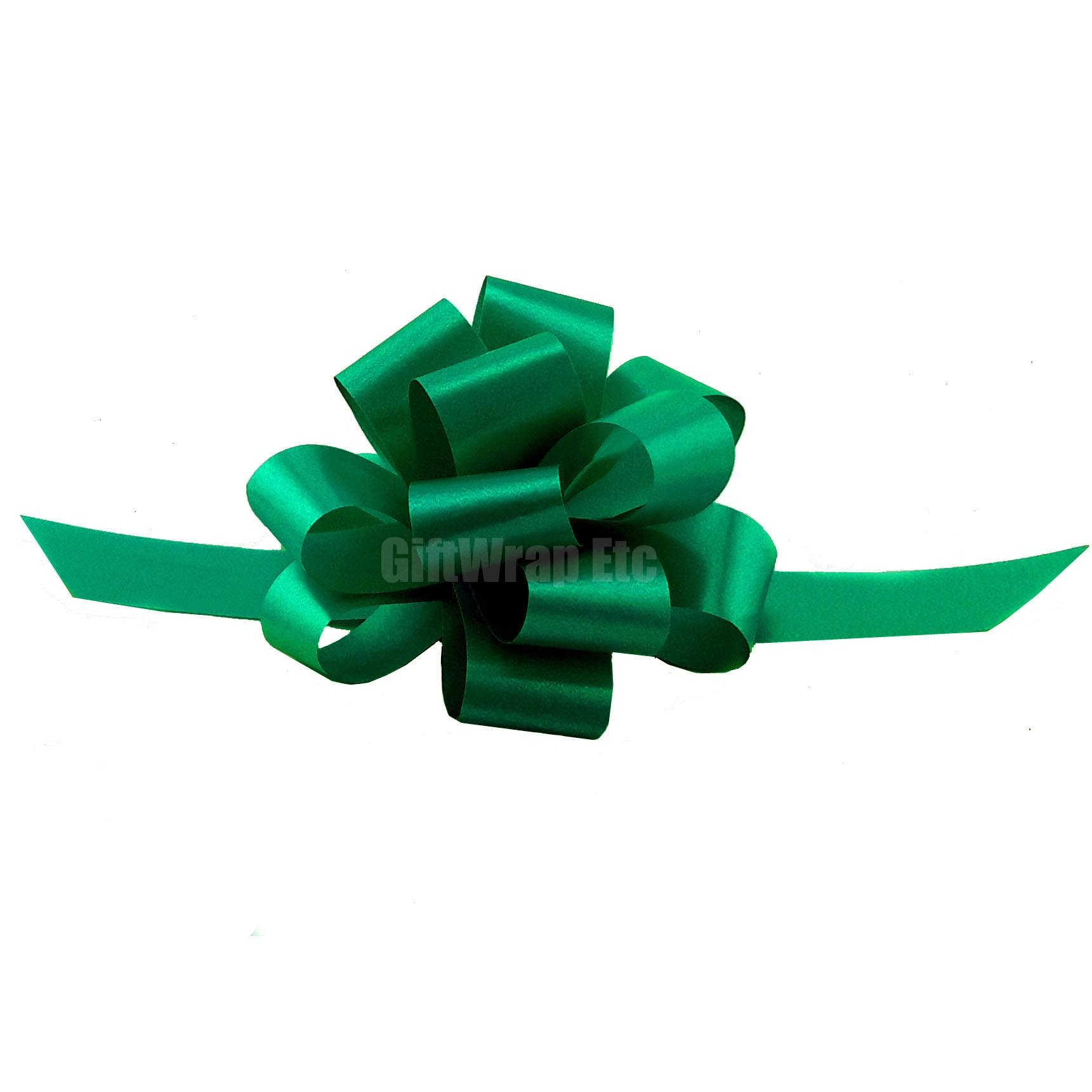 "Emerald Green Decorative Gift Pull Bows - 5"" Wide, Set of 10, St. Patrick's Day Decorations"