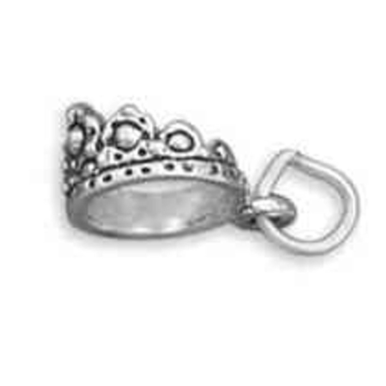 Sterling Silver 7 4.5mm Charm Bracelet With Attached 3D Pageant Princess Queens Royal Crown Tiara Charm