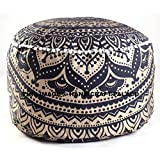 Indian Black Gold Ombre Mandala Footstool Round Pouf Cover Ottoman Cover Pouffe Decorative Pouf Ottoman,Indian Comfortable Floor Pillow Cotton Cushion Cover Pouf,14x24'' by Handicraft-Palace