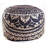 HANDICRAFT-PALACE Indian Black Gold Ombre Mandala Footstool Round Pouf Cover Ottoman Cover Pouffe Decorative Pouf Ottoman,Indian Comfortable Floor Pillow Cotton Cushion Cover Pouf,14x24