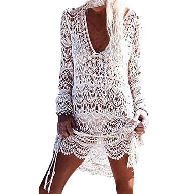 sale retailer fb91d 7ddbf Homebaby - Copricostume Mare Donna Pizzo Camicia - Copribikini in Cotone  sui Costume da Bagno Sexy - Kimono Vestito Lungo Estate Boho Hippie Kaftan  ...