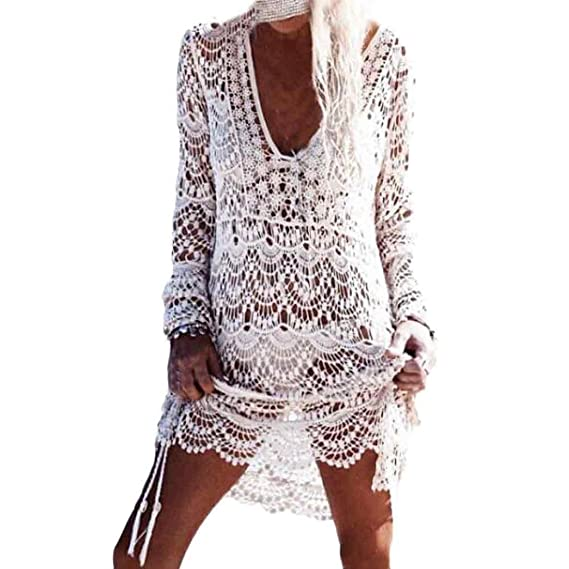 Homebaby - Copricostume Mare Donna Pizzo Camicia - Copribikini in Cotone  sui Costume da Bagno Sexy 3b80ffbfc061