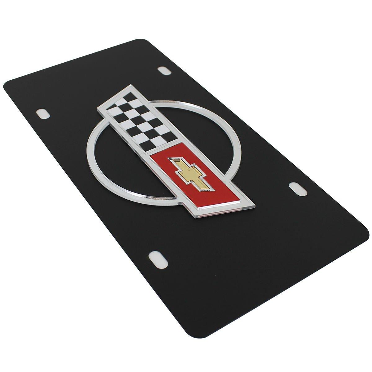Chevrolet Corvette C4 Flags License Plate on Black Steel