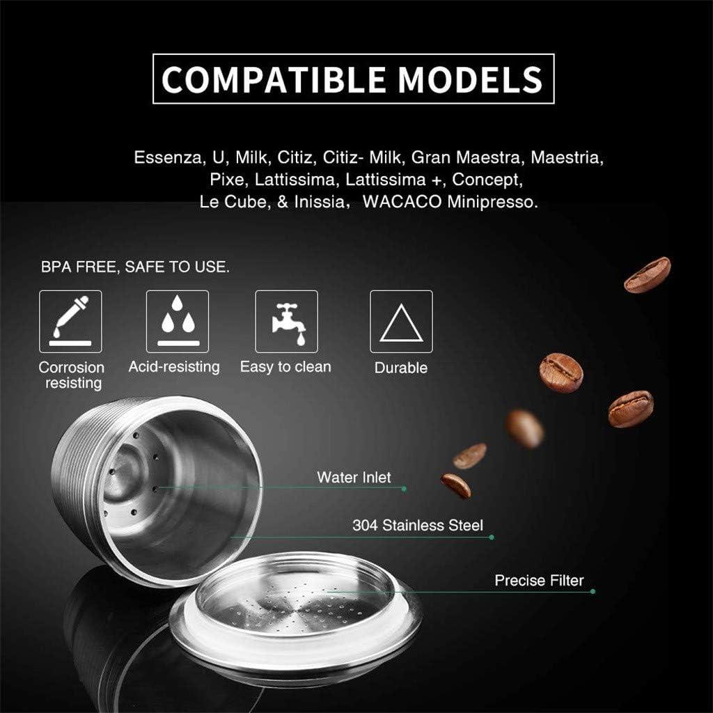 Rusaly Cápsulas Filtros de Café Acero Inoxidable Recargable Cápsula para Cafetera Nespresso Puede Usarse Indefinidamente (con 1 Cuchara y 1 Cepillo): Amazon.es: Hogar