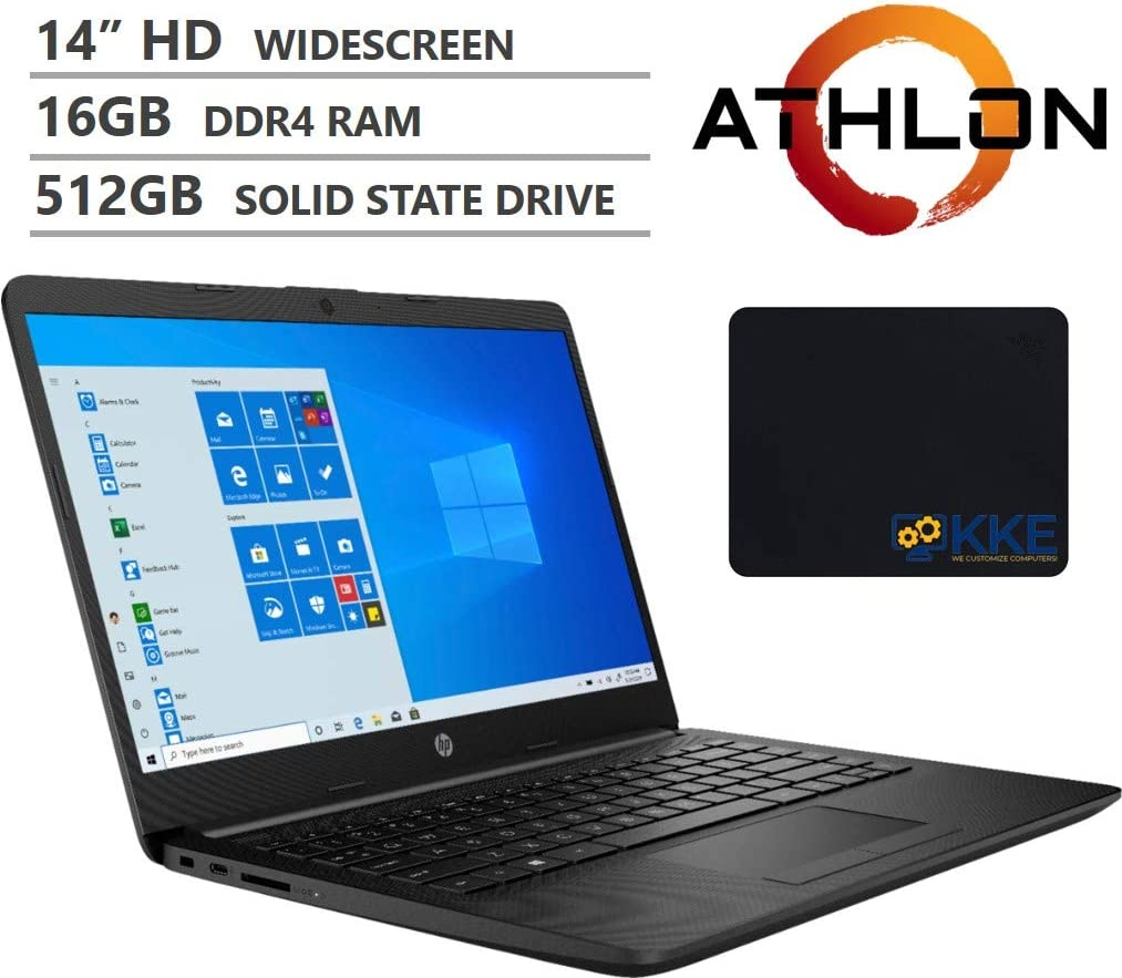 "HP 14"" HD Anti-Glare Micro-Edge Screen Laptop, AMD Athlon Silver 3050U Dual-Core Processor up to 3.20GHz, 16GB DDR4 Memory, 512GB PCIe NVMe SSD, Wi-Fi, Bluetooth, Windows 10, Jet Black, KKE Mousepad"