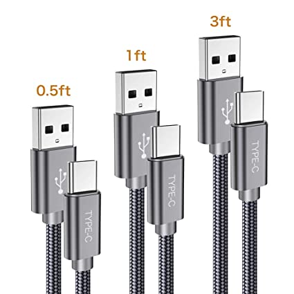 Amazon.com: Cable corto USB C, paquete de 3 (0,5 pies + 1 ...
