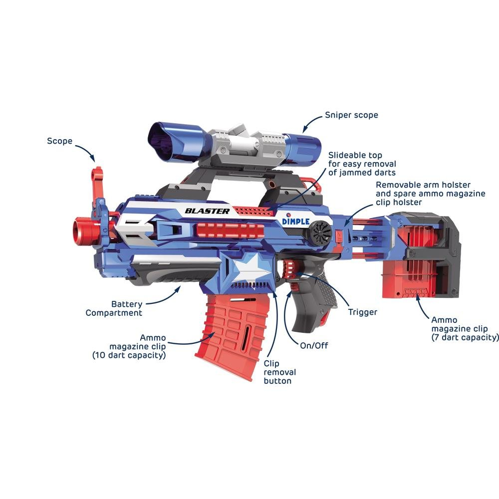 "Foam Dart ""Attack Blaster"" with Rapid Refill Cartridges by Dimple, Includes  40 Aerodynamic Soft Foam Darts, 2 Magazine Clips, Clip-on Scope &"