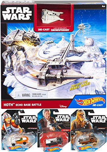 Hot Wheels Star Wars Classic Starship Hoth Echo Base Battle Play Set & Han Solo / Chewbacca & Luke Skywalker Character Car Set
