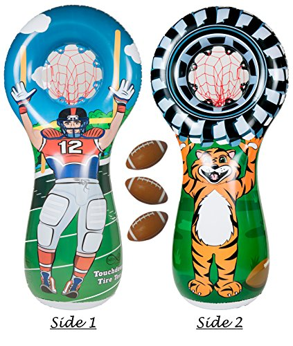 Infinafit Touchdown Tire Toss Target Set - Includes One Inflatable 5 Foot Tall Target (Football Player on one side and Tiger Mascot Holding Tire on 2nd side), 3 Mini Footballs (Football Toss Carnival Game)