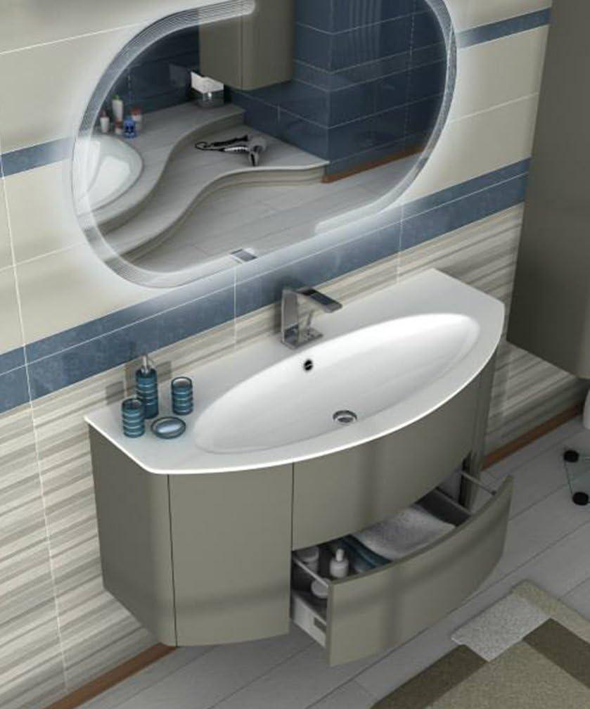 Meuble salle de bain suspendu moderne Eden Push Gris Taupe, mesure