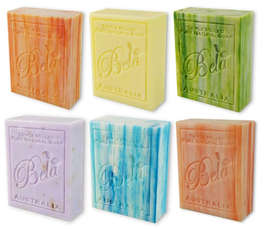 Bela Bath & Beauty, Assorted, Triple French Milled Moisturizing Soap Bars, No Harsh Ingredients, 3.5 oz each - 6 Pack