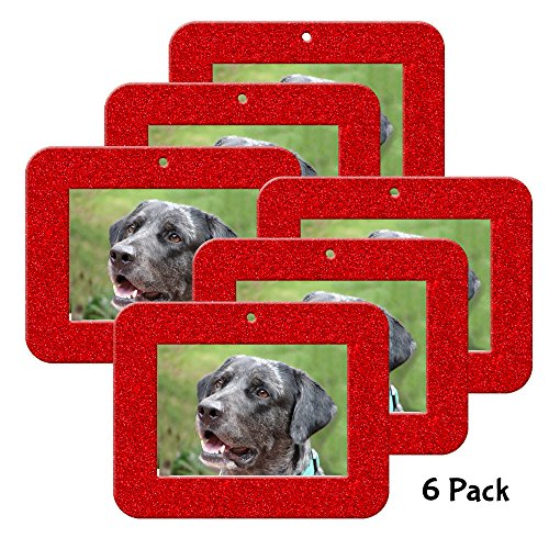 Expressly Yours! Photo Expressions Mini Magnetic Glitter Christmas Photo Ornaments - 6-pack, Horizontal - (Photo Christmas Ornament)