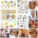 Temporary Tattoos by CUPID - Luxury Jewelry - Body Paint New Style Art Amazing Effects - 150+ Premium Metallic Henna Gold Silver Black - Pack of 5 sheets - For Men Women Boy Girl Kid (Pack 5)