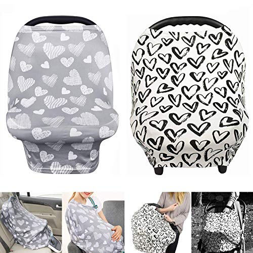TUTUWEN [2Packs] Nursing Cover - Breastfeeding Cover Super Soft Cotton Multi Use for Baby Car Seat Covers Canopy Shopping Cart Cover Scarf-Hearts - Love (Cover Breastfeeding)