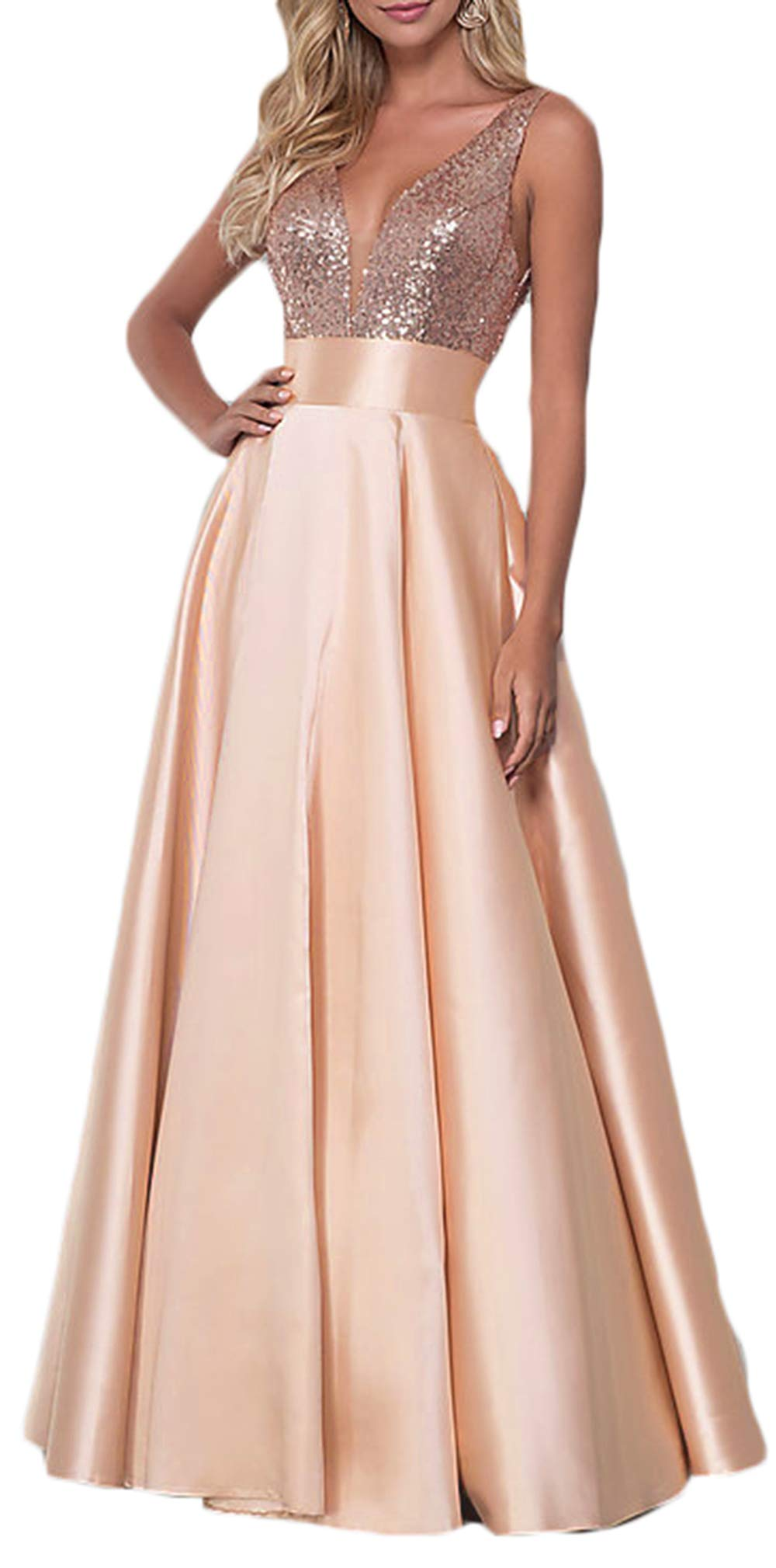 V Neck Prom Dress Long Sequins Satin Bridesmaid Dress Formal Evening Party Gowns For Women With Pockets