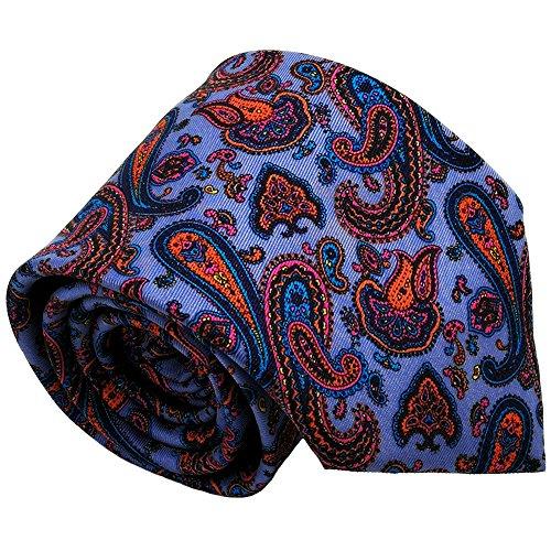 Qobod Classic Men's 100% Silk Tie Necktie Woven JACQUARD Neck Ties gift box purple orange paisley ()