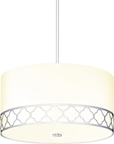 Large Fabric Linen Drum Chandelier – 18 Inch 4-Light Ceiling Fixture with Scalloped Nickel Metal Design and Glass Diffuser