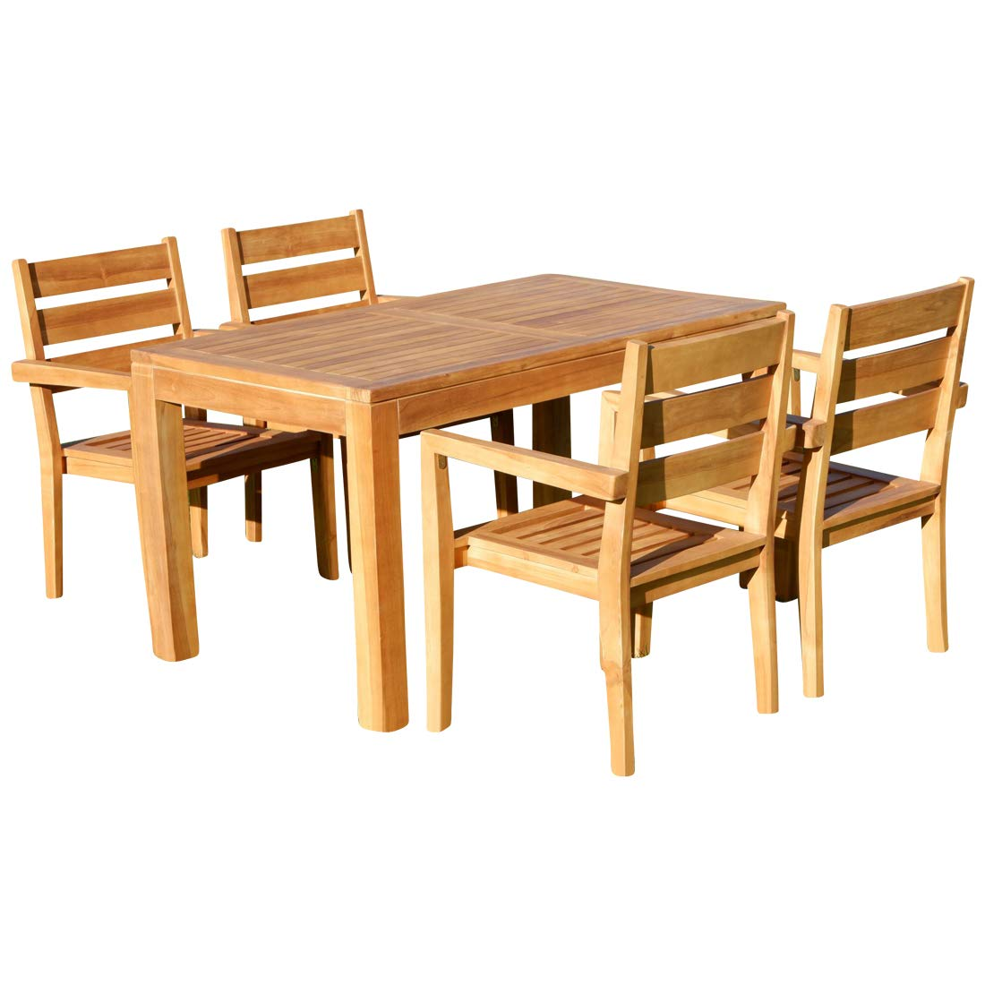 Teak Set Gartengarnitur Bigfuss Tisch 140x80 mit 4 Kingston Sessel Serie Jav von AS-S