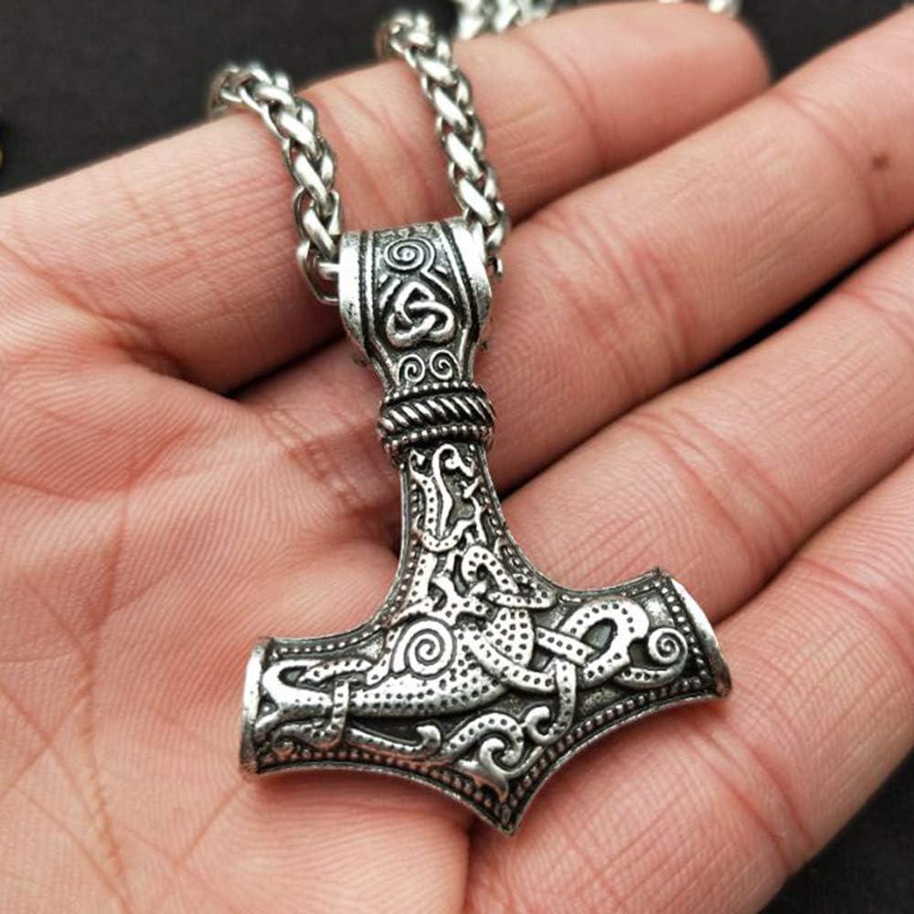Hommes Fabriqu/é /À la Main Viking Collier R/étro Amulette Nordique en Alliage Pendentif Collier Celtic Pagan Bijoux Baugger Collier Artisanal