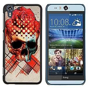 Stuss Case / Funda Carcasa protectora - Rose Cráneo Muerte Ink Tattoo del rosa rojo - HTC Desire Eye M910x