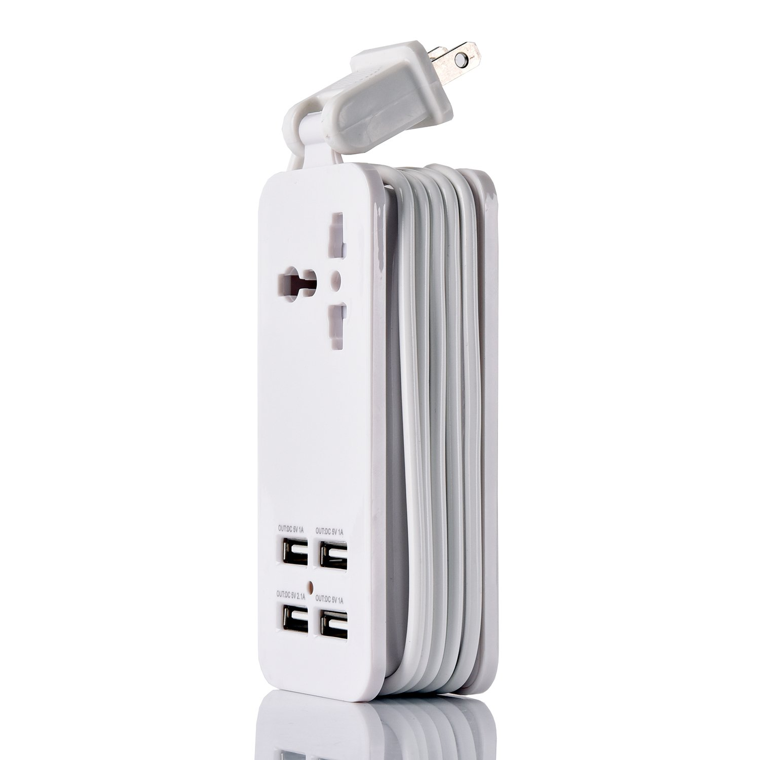 USB Power Strip Portable Travel Charger Outlets 2.1AMP 1AMP 21W 5Foot Power Supply Cord With Universal Plug Input From 100v-240v Power Sockets USB Charger Station 4 Port 5v 1A/2.1A USB Charger (White) by ETPocket (Image #2)