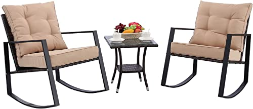 HTTH 3 Pieces Outdoor Rocking Chair Bistro Set Steel Furniture with Glass Coffee Table Thickened Cushion Wicker Rattan Set Lawn Garden Backyard Balcony Furniture Beige