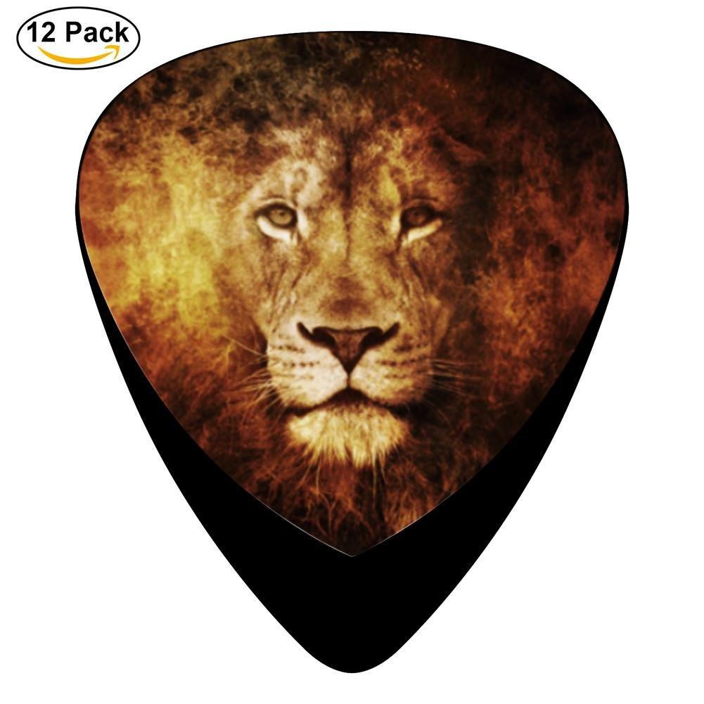 pimalico Classic diseño de León Púas (12 unidades,) para guitarra eléctrica, guitarra acústica, mandolina, y Graves/negro: Amazon.es: Instrumentos musicales