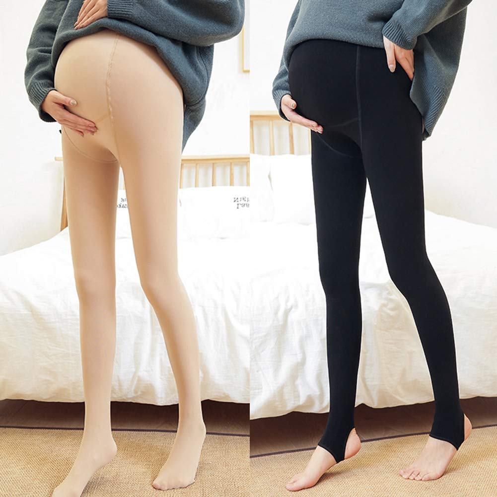 FairOnly Light Fleece Pregnant Pantyhose Autumn Winter to Keep Warm Skin Color color Step on the foot