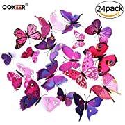 3D Butterfly Wall Decor, Coxeer 24 PCS Removable Butterfly Wall Art Vivid Butterflies Wall Decor with Foam Dot Glue for Home and Room Decoration(Purple)