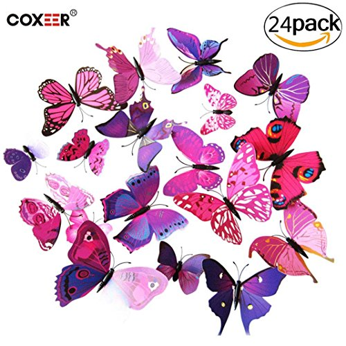 Sticky Foam Garden (3D Butterfly Wall Decor, Coxeer 24 PCS Removable Butterfly Wall Art Vivid Butterflies Wall Decor with Foam Dot Glue for Home and Room Decoration(Purple))