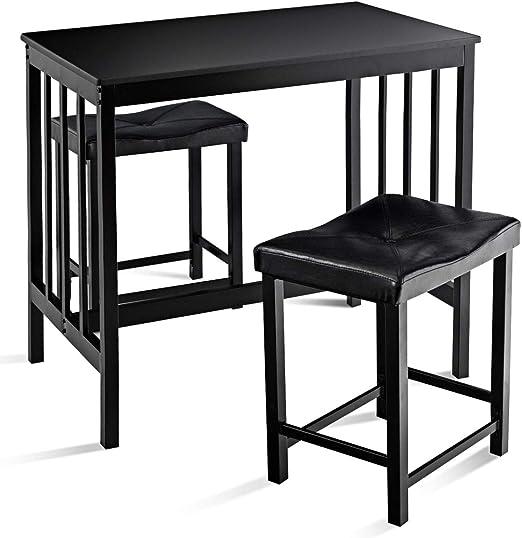 Goplus - Juego de mesa y sillas para comedor, 3 piezas con mesa y 2 taburetes de esponja con asiento de poliuretano para 4 personas, para salón, cocina, bistrot: Amazon.es: Hogar
