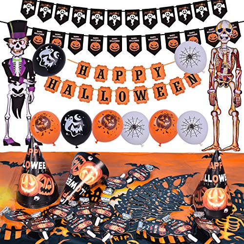 Halloween Party Supplies Cute Fun Party Favors Decoration All-in-One Pack for Kids Theme Party Include Party Blowers, Eye Patch, Cardboard Hat, Balloon, Table Cloth, Banners and Hanging Skeleton -