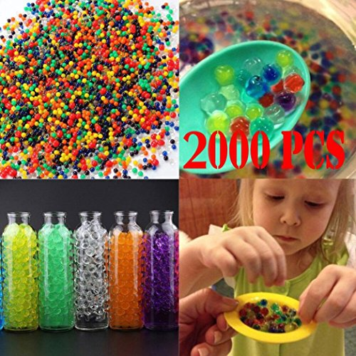 XEDUO Water Beads, 2000 PCS Pearl Soil Water Gel Ball For Vase Filler Aqua Plant Flower Mud Grow Sensory Toys Magic Jelly Balls Wedding Home Decoration (Multicolor)