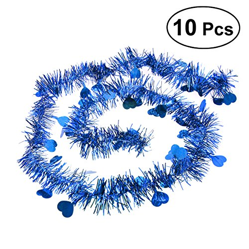 BESTOYARD 10Pcs Festooning Garland Metallic Sparkling Festival Hanging Decoration for Wedding Christmas (Blue)