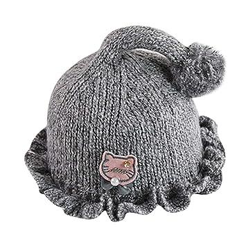 5b248338514 Amazon.com  Fheaven Newborn Baby Girls Boys Cartoon Cat Knitting Lacework  Warm Kids Hat Cap (Gray)  Beauty