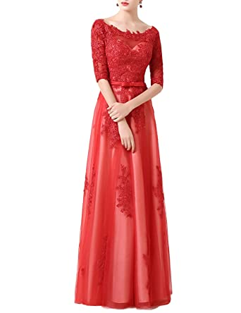 Mitchell SZ Womens Tulle Long Formal Evening Prom Dresses Sleeves Red Size 2