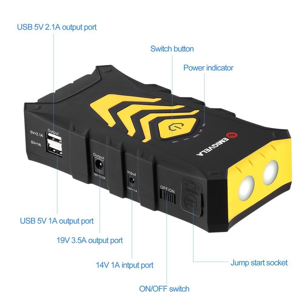 EMIGVELA Car Jump Starter Kit 14000mAh Dual USB Power Bank Emergency Battery Booster
