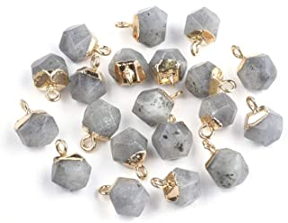 Fashewelry 50Pcs Random Mixed Stone Snowcone Style Gemstone Pendants Healing Chakra Crystal Charms with Antique Silver Bead Caps for DIY Jewelry Craft Making 0.49x1.16