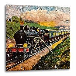 3D Rose Magic Lantern Vintage Steam Engine Locomotive Train Carriages Wall Clock 15 x 15