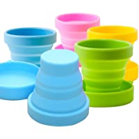 CHRISLZ 5 pcs Collapsible Water Cup, Foldable Portable Silicone Drinking Cup for Outdoor Activities