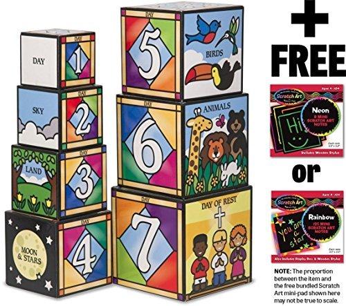Melissa & Doug Days of Creation Stacking and Nesting Blocks Set + FREE Scratch Art Mini-Pad Bundle [27779]