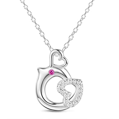 Sweetiee 925 Sterling Silver Necklace with Tiny Whale with Zircon Silver 400mm for Girls iNytdG9emU