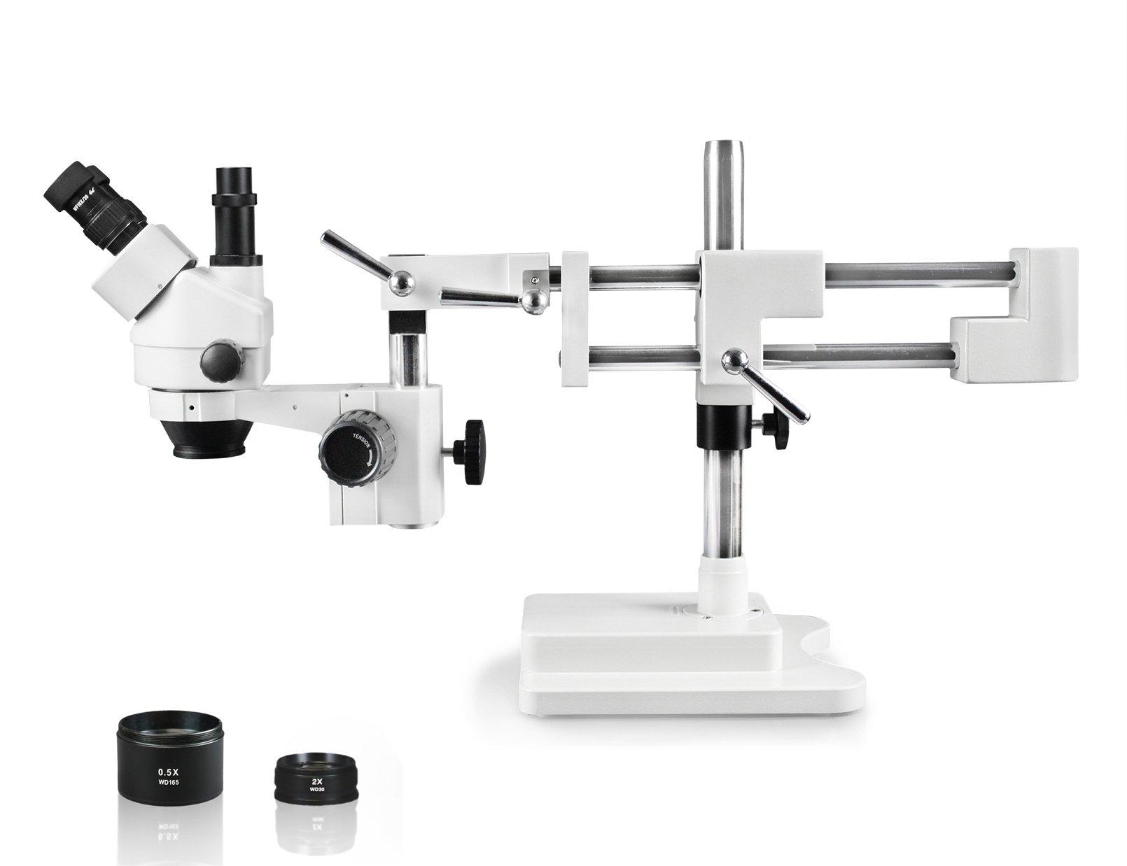 Vision Scientific VS-5FZ Trinocular Zoom Stereo Microscope, 10x WF Eyepiece, 0.7x—4.5x Zoom, 3.5x—90x Magnification, 0.5x & 2x Auxiliary Lens, Double Arm Boom Stand
