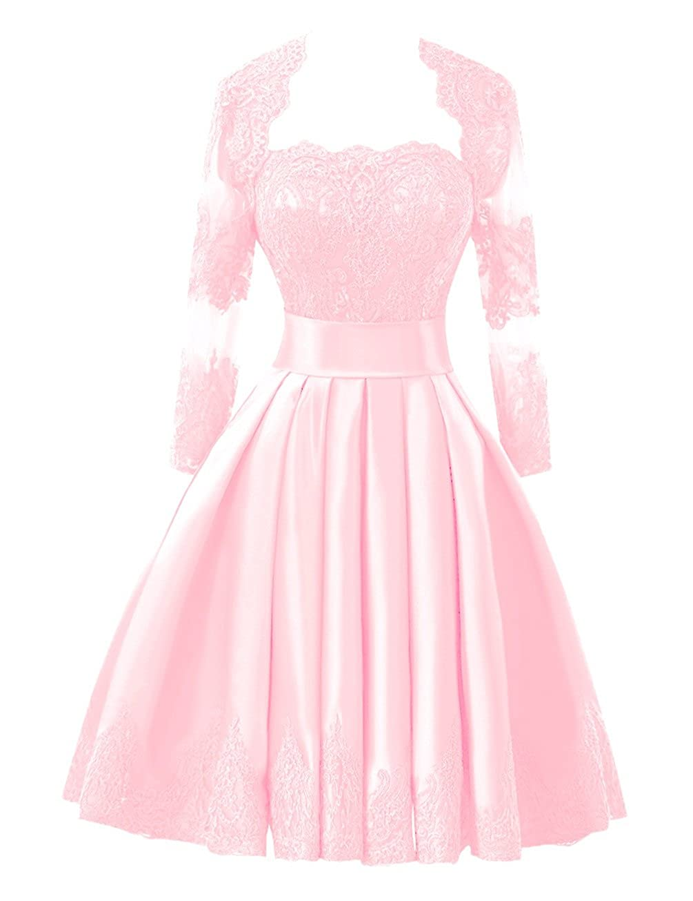 blueshing Pink Bess Bridal Women's Lace Short Prom Homecoming Dresses with Long Sleeve Jacket
