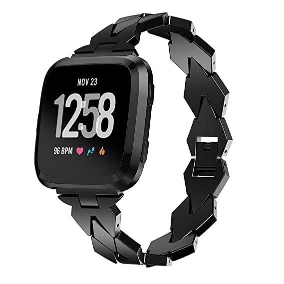 SUNEVEN 2018 - Correa para Fitbit Versa (metal, correa de metal para reloj inteligente Fitbit Versa), color negro: Amazon.es: Relojes